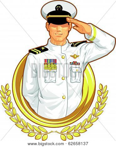 Military Officer in Salute Gesture