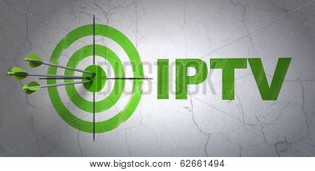Web development concept: target and IPTV on wall background