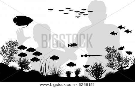Editable vector illustration of mother and son looking at fish in an aquarium poster
