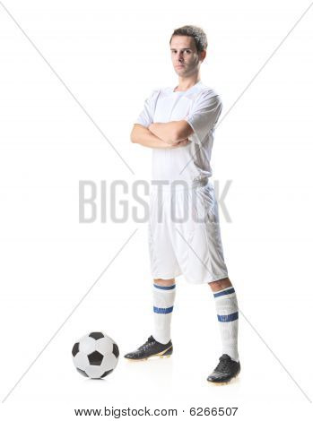 Football Player With A Soccer Ball