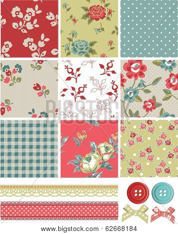 Vintage Inspired Vector Seamless Rose Patterns and Icons. Use as fills, digital paper, or print off onto fabric to create unique items.