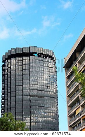 The Skyscrapers Of La Caixa Headquarters Complex On Avinguda Diagonal