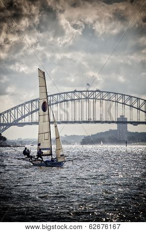 18 foot Skiff racing on Sydney Harbour