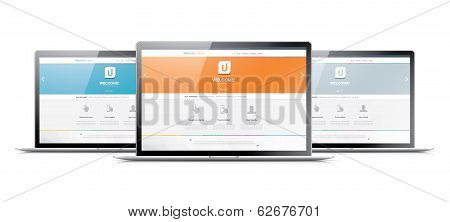 Three laptops displaying modern web development coding websites
