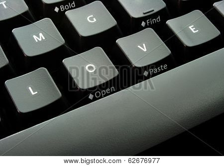 Keyboard with alphabets L-O-V-E, plus a word 'find' on the top-right, conceptual idea for finding love online.