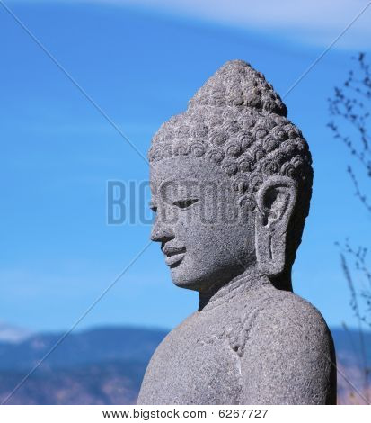 Stone Buddha Head In Near Profile
