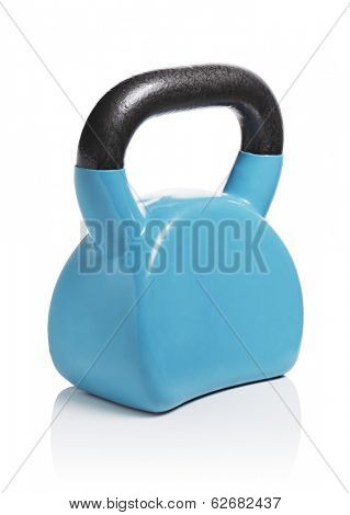 Modern ergonomic vinyl coated kettlebell isolated on white with natural reflection.