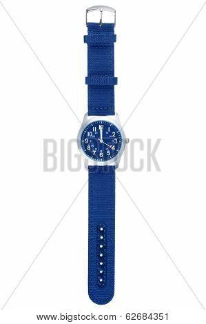 Blue wristwatch closeup