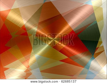 Geometric Cubism Metallic Stainless Steel Metal Texture Background poster