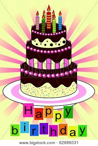 Chocolate Birthday cake with candles. vector illustration