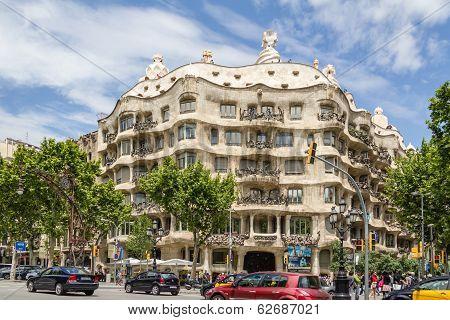 View of Casa Mila or La Pedrera, in Barcelona