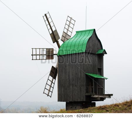 Old Windmill With Copper Roof
