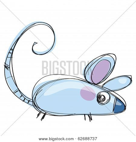 Cartoon Baby Vector Mouse In A Naif Childish Drawing Style