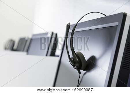 Call Center Telephony Headset Isolated On Screen