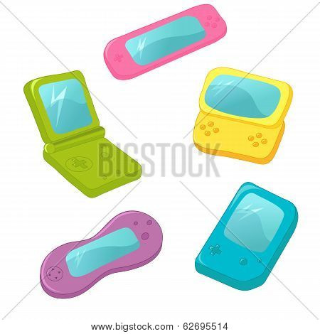 Set Of Cute Vector Game Consoles