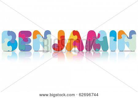 BENJAMIN written with alphabet puzzle - vector illustration
