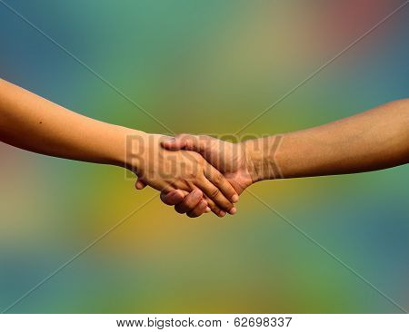 Handshake, Hand Shaking With Colorful Background, Hand In Hand