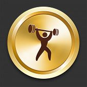Weight Lift Icons on Gold Button Collection poster