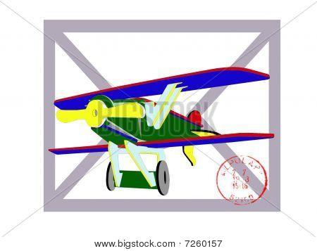 Postcard with color plane