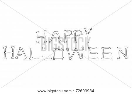 Happy Halloween Bones Outline Text