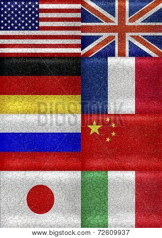 G8 Grunge Style Flags Pattern