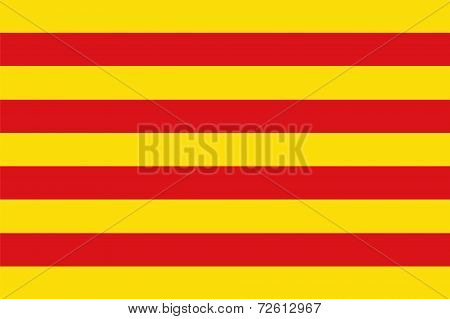 The flag of Catalonia a vector file of yellow and red poster