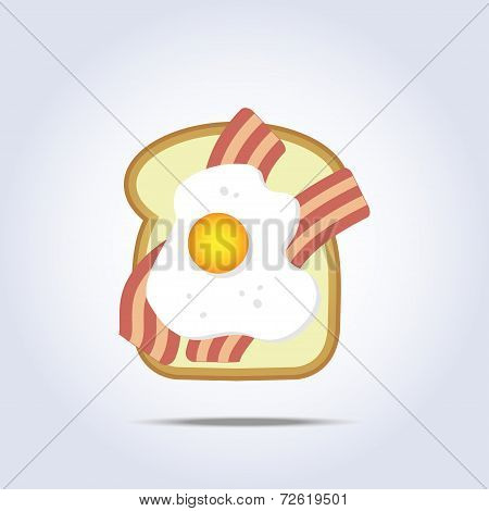 White bread toast icon with bacon and egg