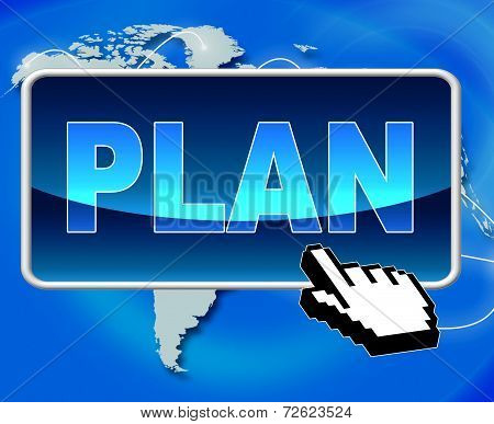Plan Button Shows World Wide Web And Formula
