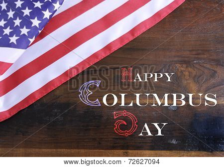 Happy Columbus Day Greeting Message Text On Dark Rustic Recycled Wood Background With Usa Stars And