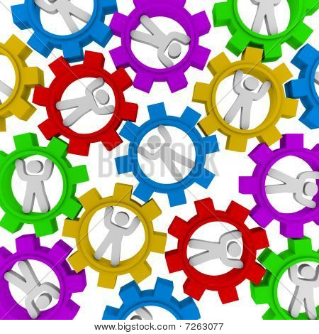 Synergy - viele Leute drehen im Getriebe