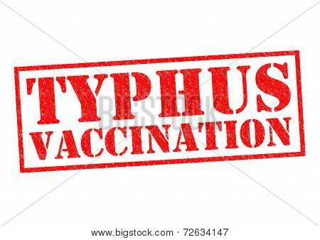 TYPHUS VACCINATION red Rubber Stamp over a white background. poster