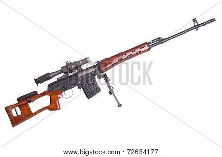 Russian Army Dragunov Sniper Rifle With Optic Sight