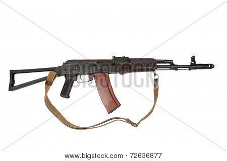 kalashnikov assault rifle ak isolated on a white background poster