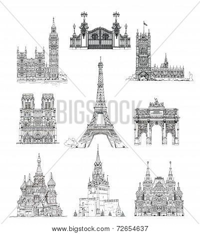 Famous buildings, sketch collection, St. Vasil cathedral in Moscow, Sketch of Eiffel Tower, Triumph Arch in Paris, Big Ben in London, Notre Dame in Paris, Russian national history museum poster