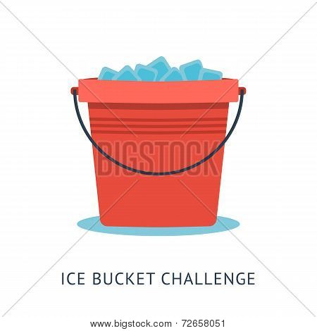 Flat vector illustration of bucket with ice cold water. ALS Ice Bucket Challenge concept poster