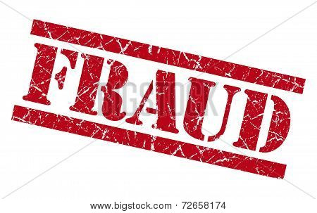 Fraud Red Grungy Stamp Isolated On White Background