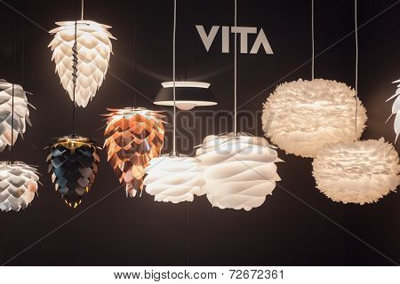 Modern Chandeliers On Display At Homi, Home International Show In Milan, Italy