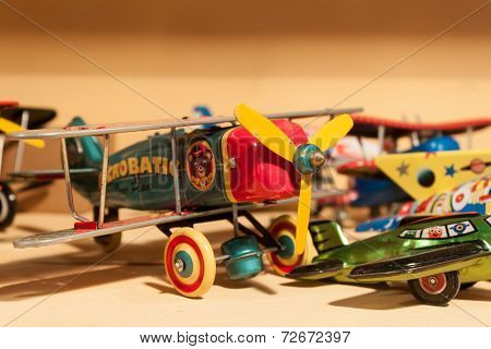 Vintage Tinplate Toys On Display At Homi, Home International Show In Milan, Italy