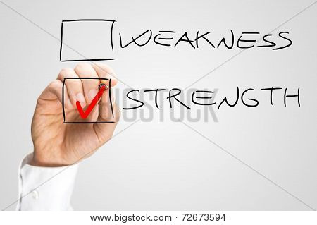 Hand Checking Box Next To The Word Strength