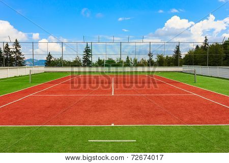 Synthetic outdoor tennis court in red and green poster