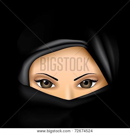 Arab Muslim Woman in Black Dress