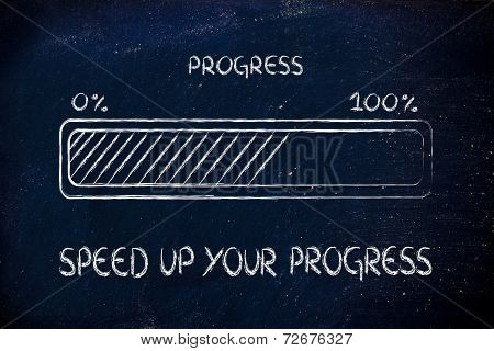 concept of reaching your goal and progressing fast progress bar metaphor poster