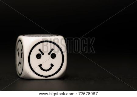 Single Emoticon Dice With Happy Expression Sketch