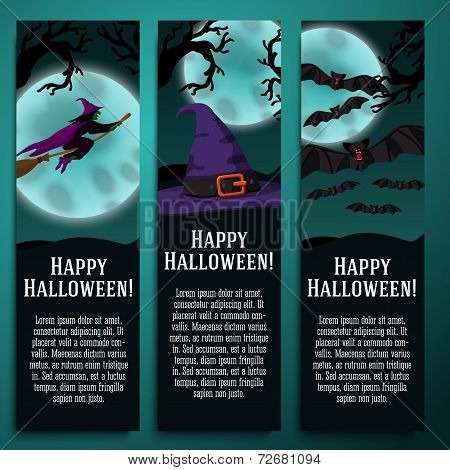 Set of halloween banners with witch, hat, bat symbols - moony background and scary tree branches.