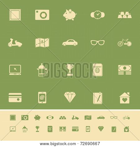The Useful Collection Color Icons On Green Background