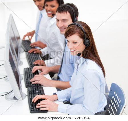 Positive Customer Service Agents At Work