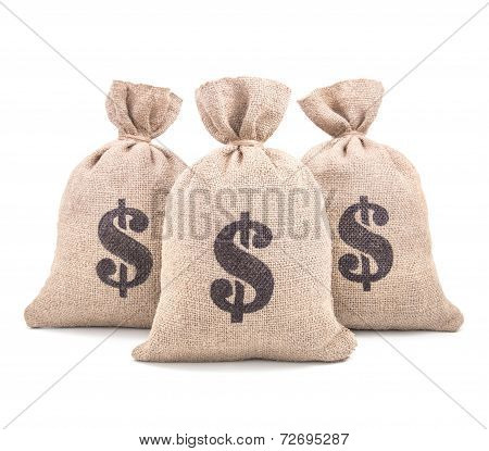 Three Burlap Money Bags Isolated On White Background