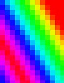An abstract pixelated two dimensional rainbow background poster