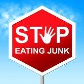 Stop Eating Junk Showing Fast Food And Caution poster