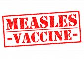 MEASLES VACCINE red Rubber Stamp over a white background. poster